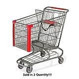 3 New Jumbo Metal Shopping Cart w/ Bottom Tray Gray Powder Coat (183-liter)