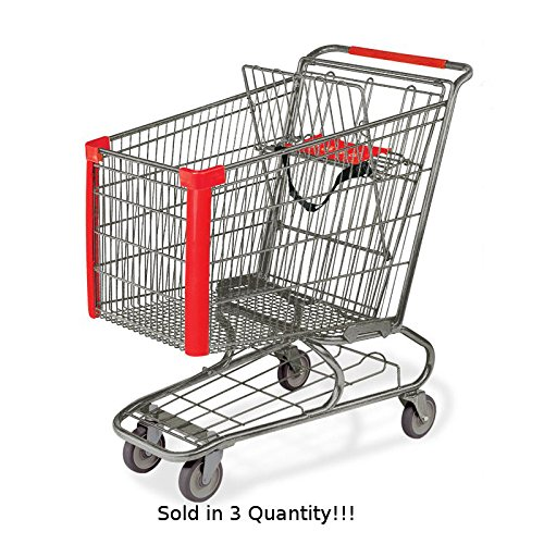 3 New Jumbo Metal Shopping Cart w/ Bottom Tray Gray Powder Coat (183-liter) by Store Shopping Cart