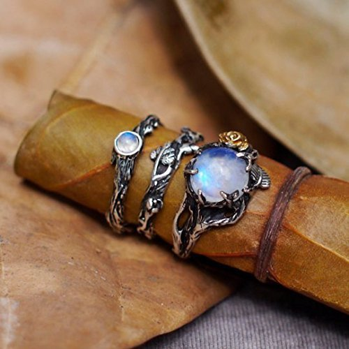 Amazoncom Set of 3 CleoMioDew Rings MADE TO ORDER Moonstone