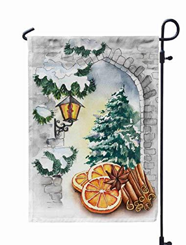 HerysTa Spring Garden Flag, Decorative Yard Farmhouse Holiday Banner 12 x 18 inches Orange Slices Cinnamon Sticks Christmas Tree The Stone Arch Watercolor Sketch Double-Sided Seasonal Garden Flags -
