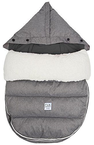 7 A.M. Enfant Lamb POD with Base Footmuff-Heather Grey Fleece Lining-Medium/Large by 7A.M. Enfant