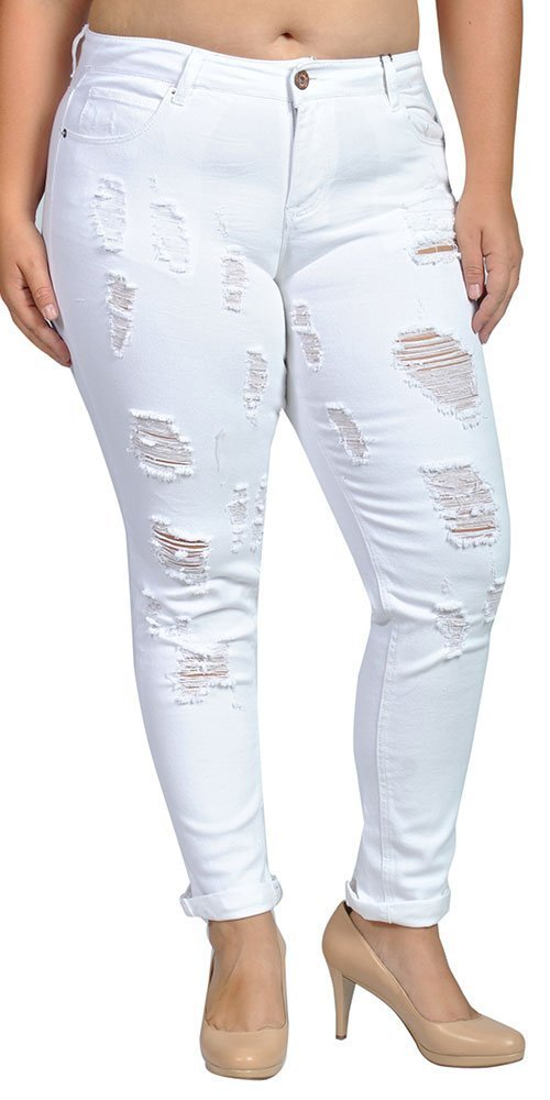 dollhouse Womens Stretch Pull-on Skinny Ripped Distressed Denim White Jeans
