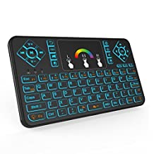 (Updated With Colorful Backlight)WONDAY 2.4GHz Colorful Backlit Mini Wireless Keyboard with Mouse Touchpad Rechargeable Combos for PC, Pad, Google Android TV Box and More