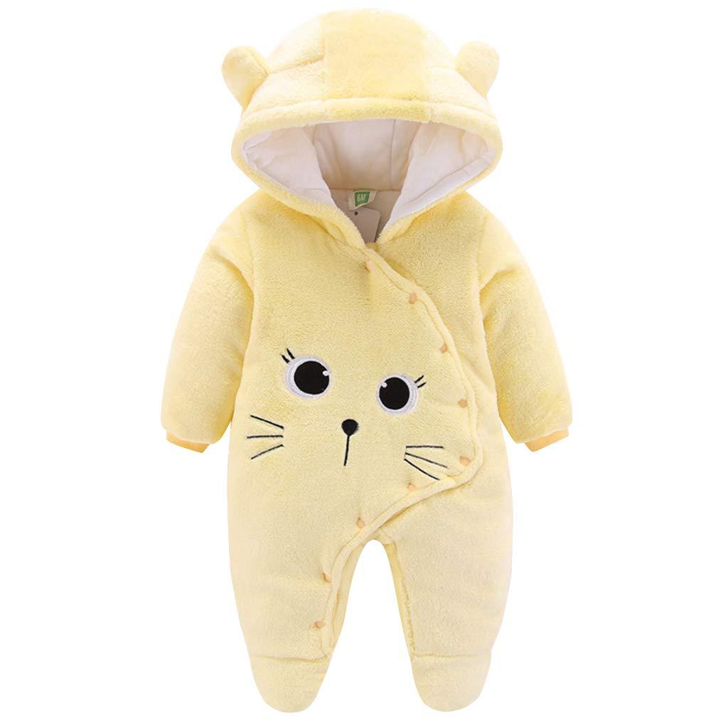 Baby Winter Fleece Overall Mit Kapuze M/ädchen Jungen Schneeanz/üge Warm Strampler Outfits Gelb 6-9 Monate 73