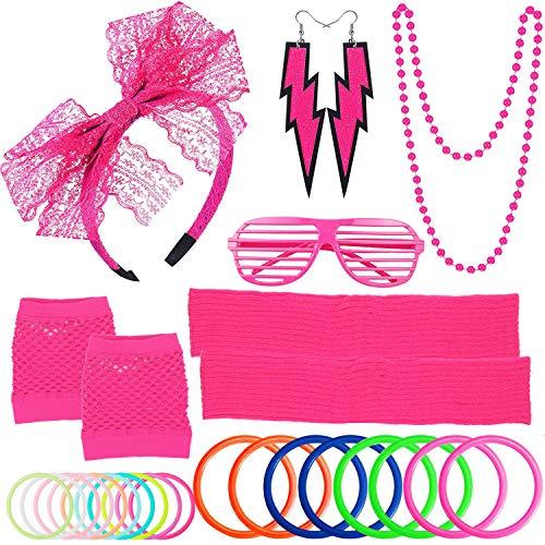 (ZTWEDEN 80s Women's Costume Outfit Accessories Set Headband Earrings Fishnet Gloves Necklace Bracelet Leg Warmers)