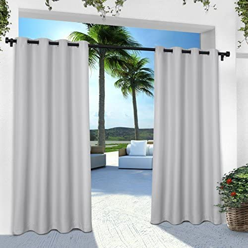 Exclusive Home EH8000-06 2-96G Indoor/Outdoor Solid Cabana Grommet Top Window Curtain Panel Pair, Cloud Grey, 54 X 96,, by Exclusive Home Curtains: Amazon.es: Hogar