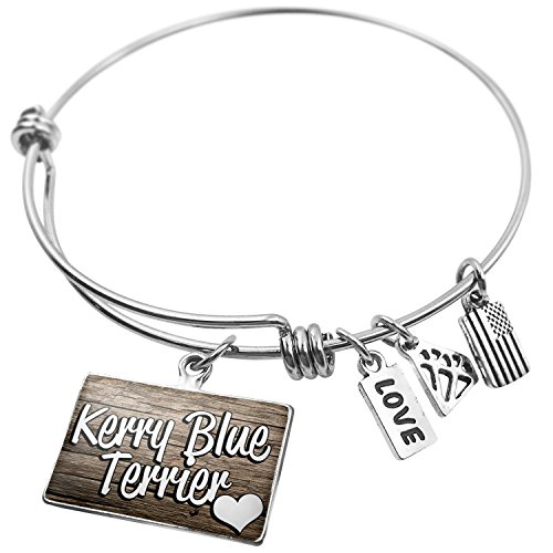 Charm Blue Kerry Terrier Dog (NEONBLOND Expandable Wire Bangle Bracelet Kerry Blue Terrier, Dog Breed Ireland)