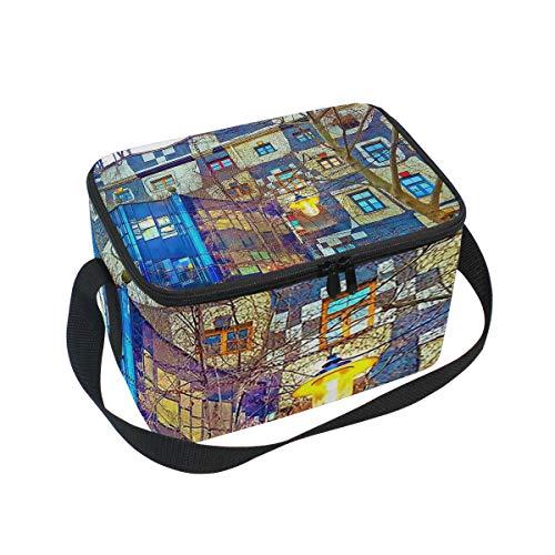 Lunch Bag Cooler Tote Bag Hundertwasser Museum Lunchbox Meal Prep Handbag for Picnic School Women Men Kids
