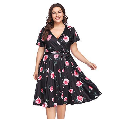 Negro para Fiesta de Vestido Floral Elegante Maxi Talla Largo Verano Mujer Estampada Corta Manga Bolsillo Moda Grande Falda Top Suleto Corto Floral Ropa Moda zq14w8zx