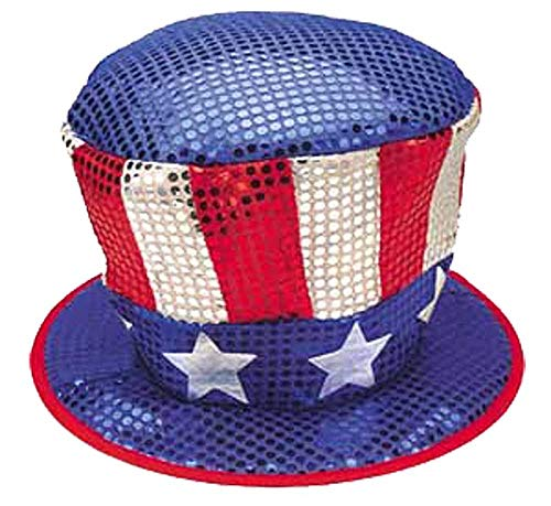 Jacobson Hat Company Men's Red White and Blue Sequin Top Hat with Stars, Multi, One Size (Blue Sequin Top Hat)