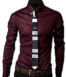 Men's Classic Elegant Checkered Dress Shirts Long Sleeve Slim Fit Burgundy US/EU XL (Asian 4XL)