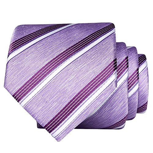 (Skinny neckties For Men 【EVANHOME】 Trendy Men's Striped Tie Tie Knot 2.75 inches Gift Wrapping (violet-Based Solid Stripes))