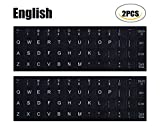 [2PCS PACK]Universal English Keyboard Stickers, Black Background with White Lettering Keyboard Sticker for Computer Laptop Notebook Desktop Keyboards(English)