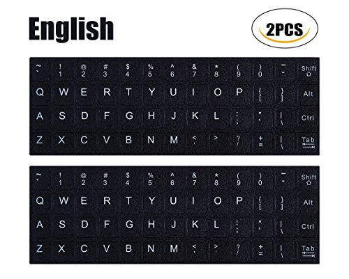 [2PCS PACK] Universal English Keyboard Stickers, Black Background with White Lettering Keyboard Sticker for Computer Laptop Notebook Desktop Keyboards(English) (Another Letter)