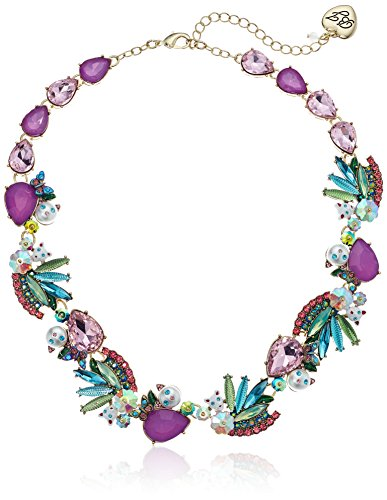 Multi Stone Cluster Necklace - Betsey Johnson Women's Colorful Stone and Cat Cluster Collar Chain Necklace, Multi, One Size