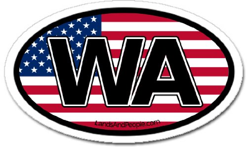 State Flag Oval Decal (Washington State WA and US Flag Car Bumper Sticker Decal Oval)