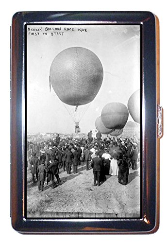 Balloon Race 1908 Germany Berlin B&W Photo: Stainless Steel ID or Cigarettes Case (King Size or 100mm)