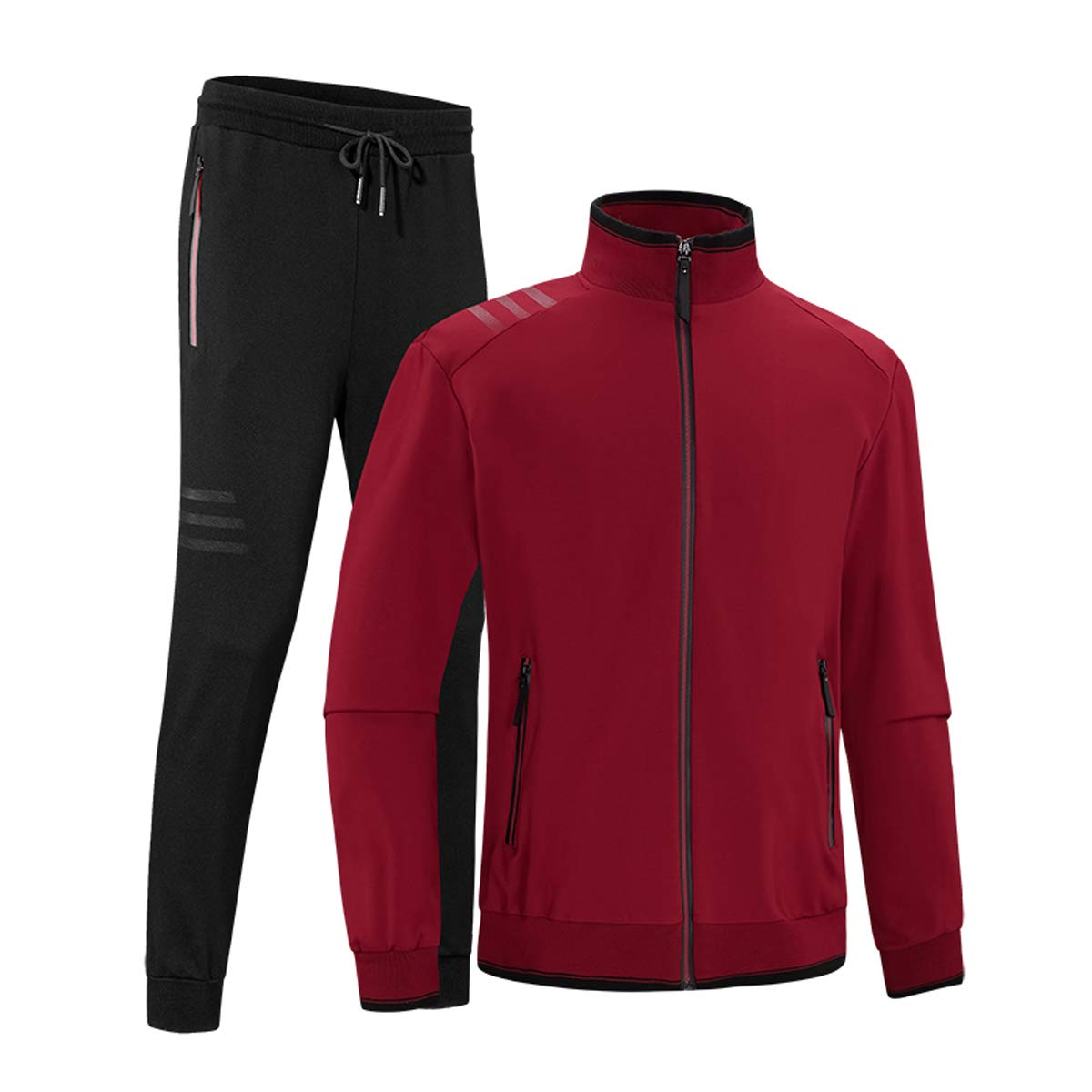 INVACHI Men's Casual 2 Pieces Contrast Cord Full Zip Sports Sets Jacket & Pants Active Fitness Tracksuit Set Wine Red by INVACHI