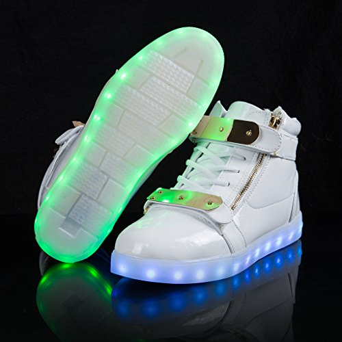 SAGUARO® Unisex 8 Colors USB Carga LED Luz Luminosas Flash Zapatos Zapatillas de Deporte Para Hombres Mujeres Blanco Patent Leather White High-Top