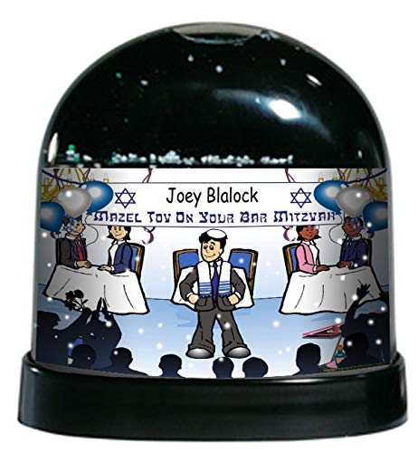 Printed Perfection Personalized Bar Mitzvah Boy Snow Globe Gift Coming of Age, Jewish Celebration, Mazel tov