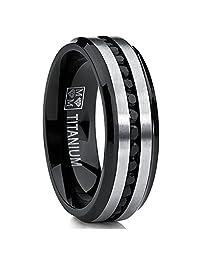 Two Tone Black Titanium Men's Eternity Engagement Wedding Band Ring W/Black Cubic Zirconia 7mm