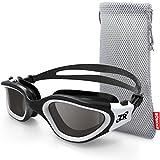Zionor Swimming Goggles, G1 Polarized Swim Goggles UV Protection Watertight Anti-Fog Adjustable Strap Comfort fit for Unisex Adult Men and Women (Polarized Smoke Lens Black White)