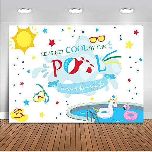 COMOPHOTO Pool Party Backdrop for Photography Birthday Theme Background for Photo Studio Swimming Ring Lifebuoy Parties Decoration -