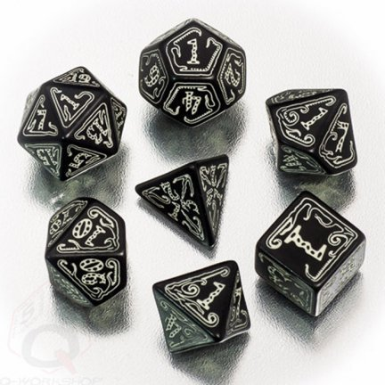 Black-glow in the dark Call of Cthulhu dice set by Q-Workshop by Q Workshop