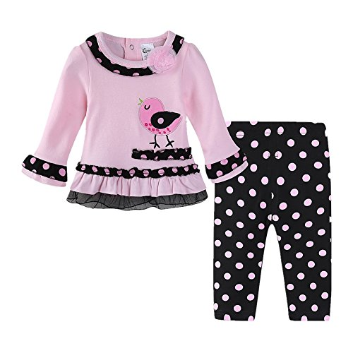 - LittleSpring Baby Girls Outfits Cute Bird Embroidered Polka Dot Pants Set Size 18M Pink