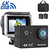 Muson 4K WIFI Action Camera 2.0 Screen 12MP F/2.4 170 Degree Wide Angle 30M Waterproof Sports DV With 2.4G Remote Control and 19 Accessories kits (DBlack)