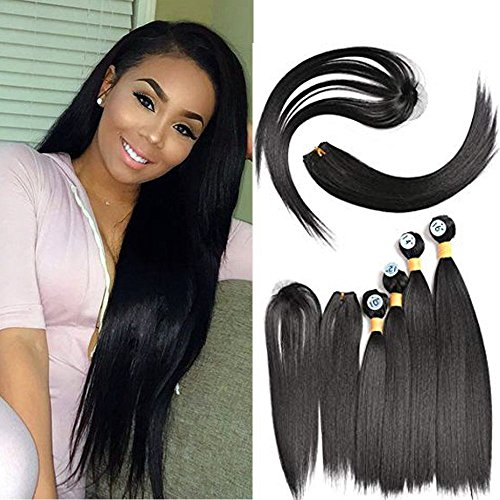 (Hair Extensions Straight Hair Bundles with Closure Synthetic Hair 4 bundles Weave Natural Black Color (10'' 12'' 14'' 16''))