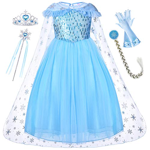 (Princess Elsa Dresses Anna Costume Frozen Queen Dress Up Clothes Skirts with Cloak Tiara Wand Wig and Gloves Accessories for Little Toddler Girls Cosplay Halloween Birthday Party 6-7 Years Blue)