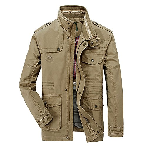 DeLamode Men Spring Autumn Stand Collar Jacket Pocket Zipper 7XL JEEP OutWear Khaki-L