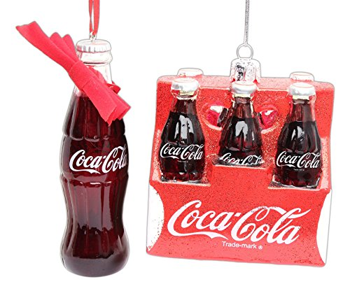 Bundle of 2 Coca-ColaTM Ornaments - Bottle of Coke and 6-Pack of Coke