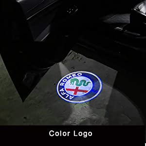 QHCP Car Door Welcome lights LED Door Warning Light Projector Light For Alfa Romeo Giulia Stelvio(Logo Customizable) (Blue)