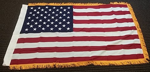 Cheap 3×5 FT USA 2 PLY Embroidered American Flag with Gold Fringe US Banner New