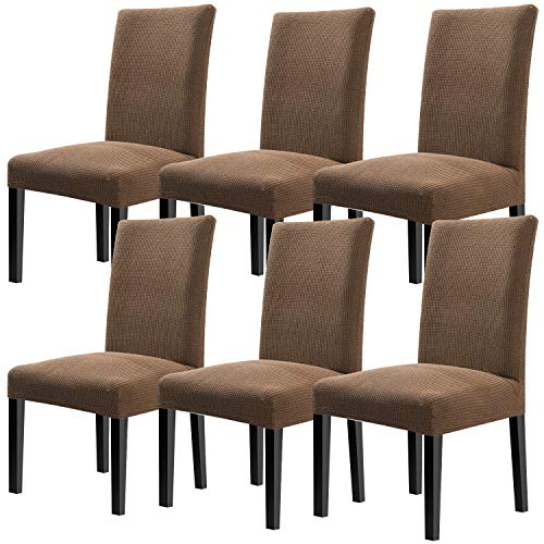 YISUN Modern Dining Chair Covers,Super Fit Stretch High Chair Cover Removable Washable Protector Cover for Hotel,Dining Room,Ceremony,Banquet Wedding Party Set of 6 Chair Protective Covers ()