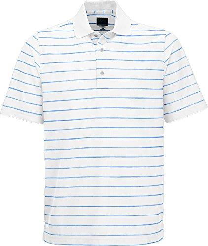 Greg Norman Collection Men's Protek Micro Pique Stripe Polo, White/Starboard, X-Large