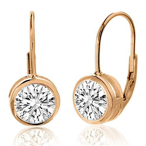 MIA SARINE 8mm Round Bezel Set Solitaire Cubic Zirconia Leverback Earrings for Women in Rose Gold Plated Sterling Silver (Pink)