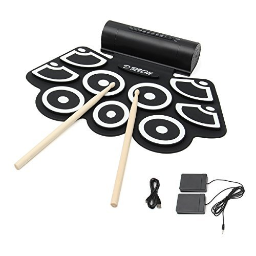 Electronic Roll up Drum, Hizek Built in Speaker 9 Pads Portable Electronic Drum Pad kits Foldable Practice Instrument with 2 Foot Pedals and Drum Sticks (Battery Not Included)