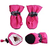 Pet Dog Boots Christmas Stockings Faux Fur Lined Anti-Slip Indoor Dog Booties For Small Dogs Cat 4 Pcs (S - Rose)