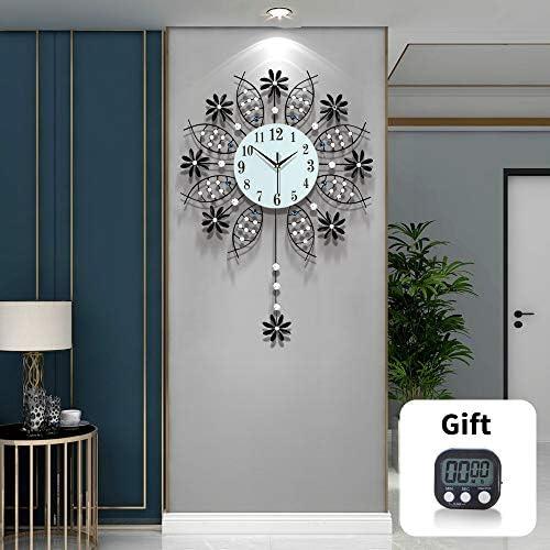 TT Black Wall Clock Modern Decorative Pendulum Wall Clock