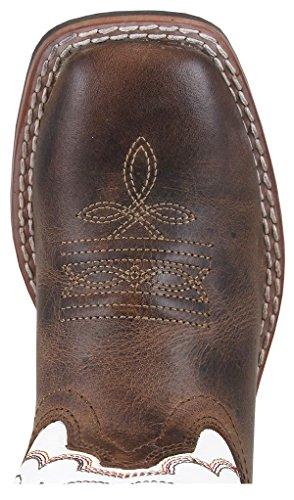 Smoky Mountain Childrens Jesse Leather Square Toe Brown Waxed/White Western Cowboy Boot