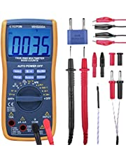 Etepon Digital Multimètre True RMS 6000 Auto Raging Voltage Tester,Measures Voltage,Current, Resistance,Continuity,Frequency,Capacitance,Temperature,Test Diodes,Transistors WH5000A