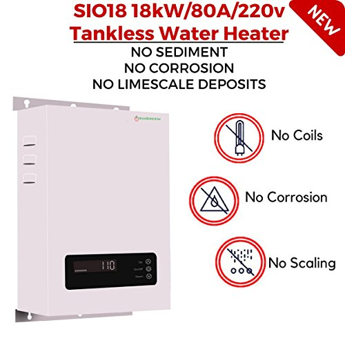 SioGreen SIO18 18kW/80A/220v Infrared Electric Hot Tankless Water Heater No Corrosion No Limescale Whole House (Water Electric 220 Heater)