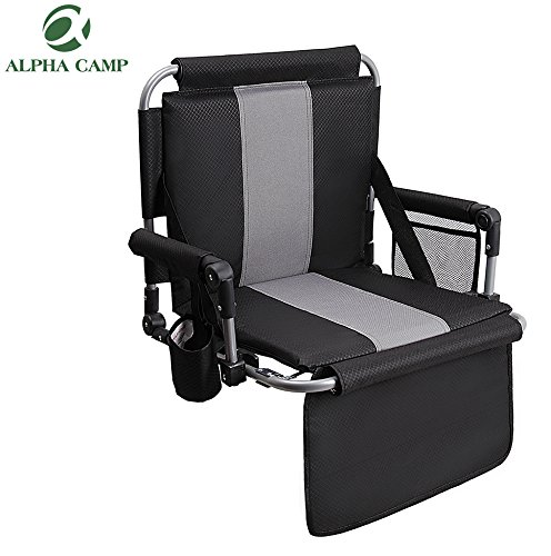 ALPHA CAMP Stadium Seat Chair for bleacher with Arms and Side Pocket Black Grey