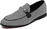 Men's Modern Plaid Driving Shoes Tuxedo Slip On Loafers British Round Toe Moccasin (9.5, White)