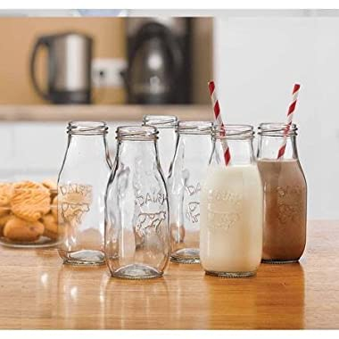 Circleware Country  Dairy  Glass Milk Bottles Beverage/drink Cups, 6 Glass Bottles, 10.5 Ounce, Limited Edition Glassware Serveware Drinkware