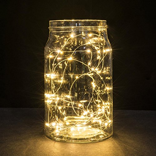 30 Kids Room Decor - LiPing 3M 30LED Button Cell Powered Silver Copper Wire Mini Fairy String Lights for Christmas, Weddings. (Yellow)