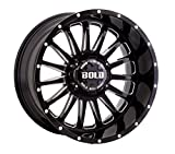 20X10 BOLD BD002, Bolt Pattern: (6x135mm and 6x139.7mm) or (6x5.31in and 6x5.5in), Offset: (-24mm), Finish: Gloss Black Milled, CB: (106.1mm), MPN: (BD0022010267-24GBX)